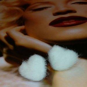 Fuzzy Faux Fur Heart Post Earrings